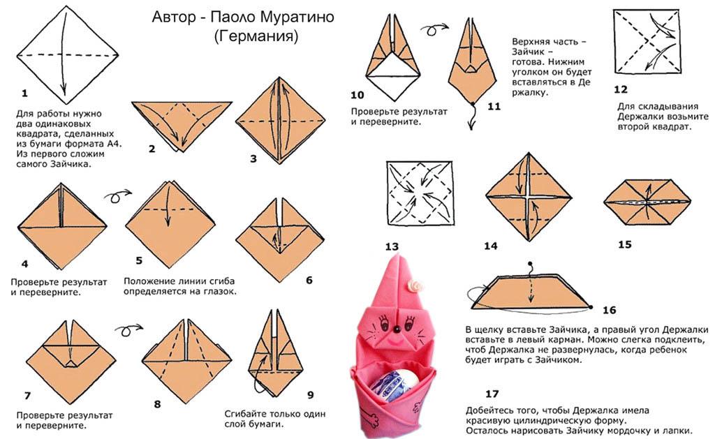 Как сложить пасхального кролика - оригами из бумаги