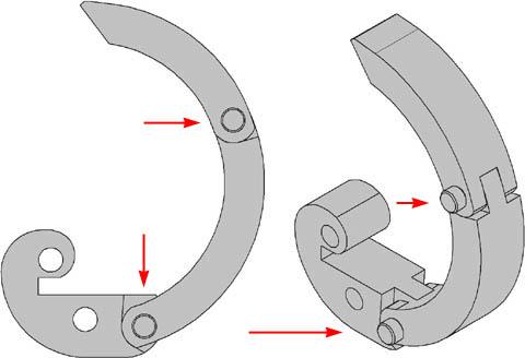 Конструкция складного лемеха станка-улитки для холодной ковки