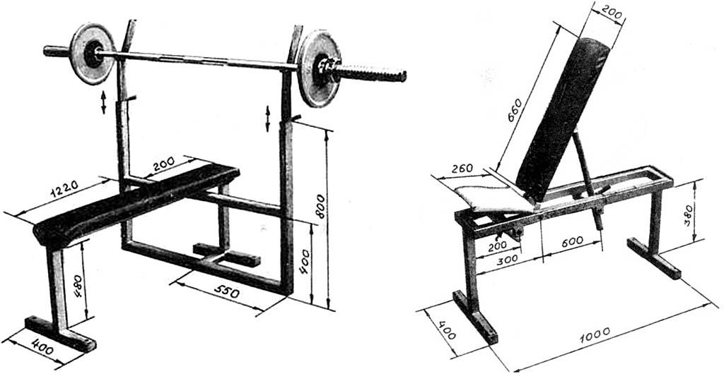 Домашний тренажер и скамья-трансформер к нему