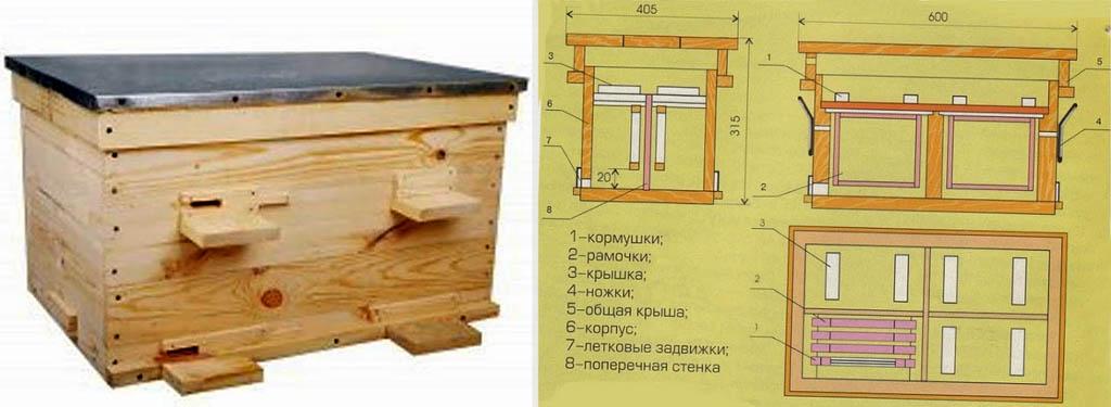 Улей-лежак для зимовки 4-х пчелосемей