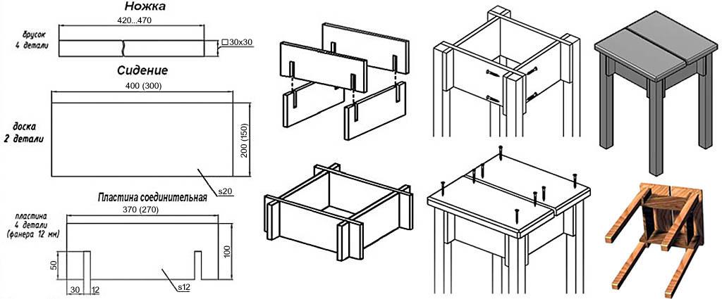 Простая хозяйственная табуретка облегченной конструкции