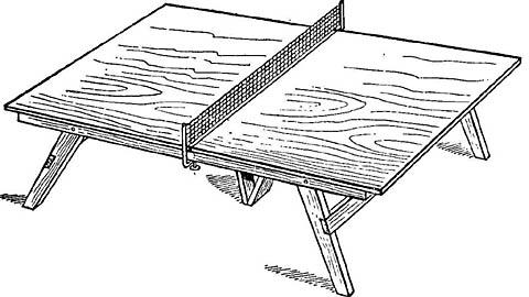 Конструкция стола для настольного тенниса со столешницей из фанеры