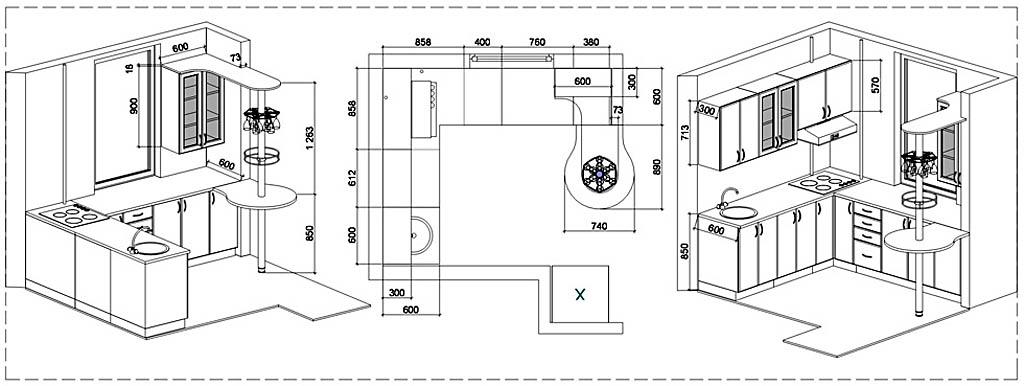 План удобной мини-кухни с барной стойкой