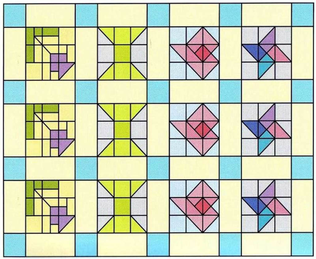 Схема детского лоскутного одеяла