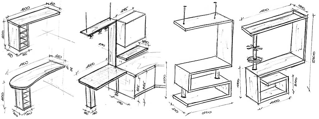Схемы барных стоек с тумбочками и этажерками