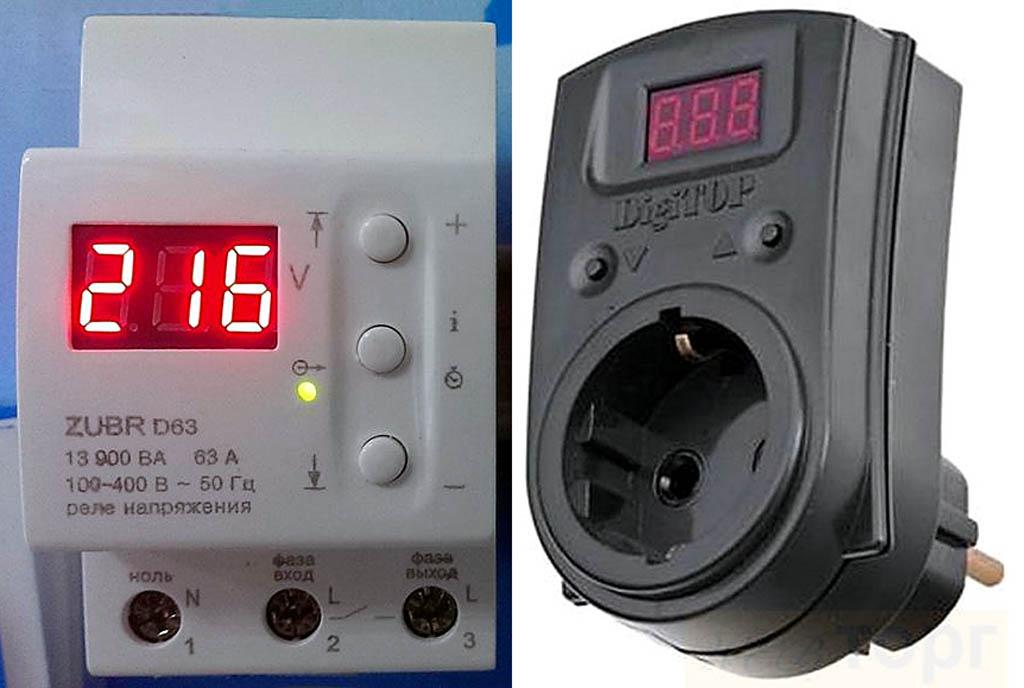 Реле напряжения и бытовой указатель напряжения электросети