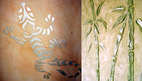 Рисунки на стене гипсом по трафарету