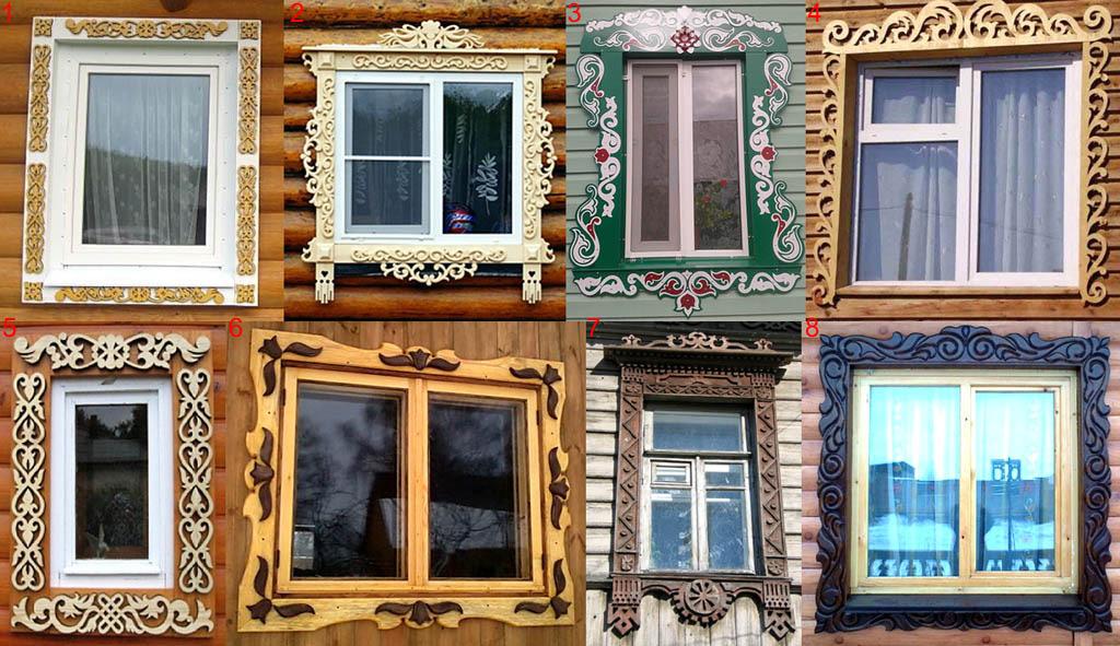 Виды художественного оформления наличников на окна
