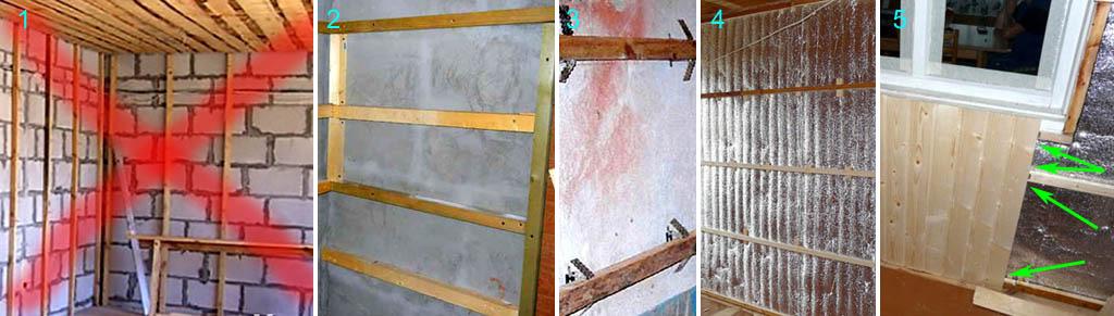 Неправильная и правильная подготовка стены под обшивку вагонкой
