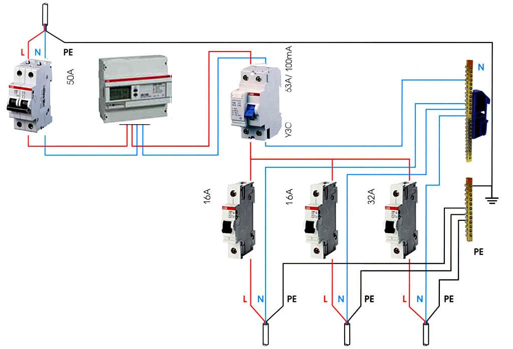 Схема подключения цепей наружной проводки