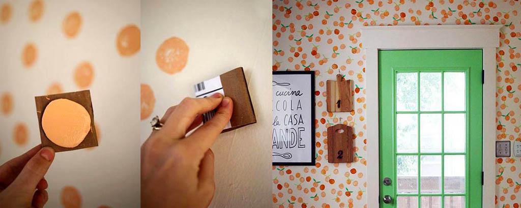 Роспись стены круглым штампом