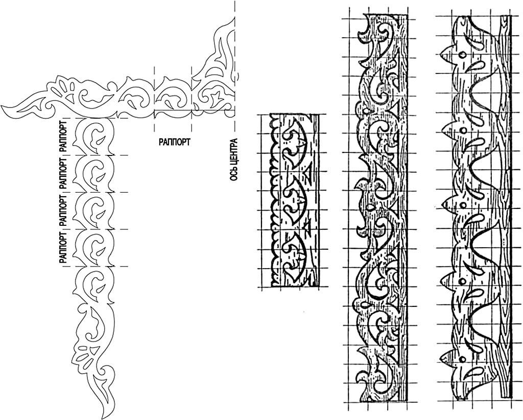 Построение орнамента наличника с помощью раппортов