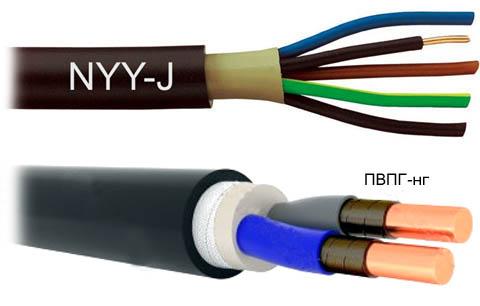 Небронированные провода, пригодные для укладки в землю.