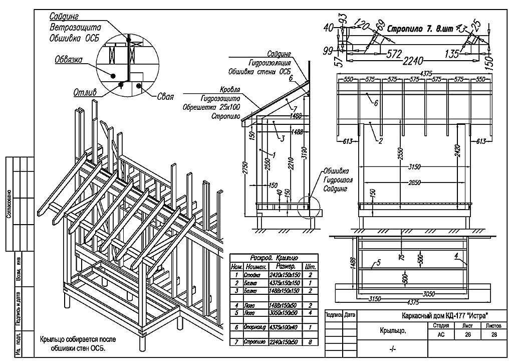 Типовой проект деревянного крыльца