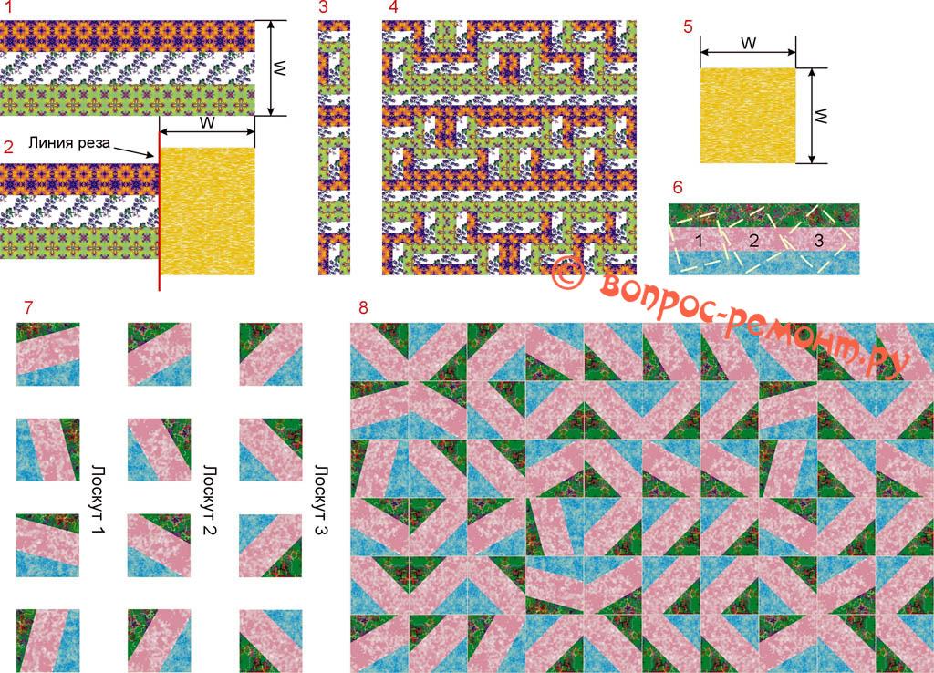 Способы геометрической сборки лоскутного шитья