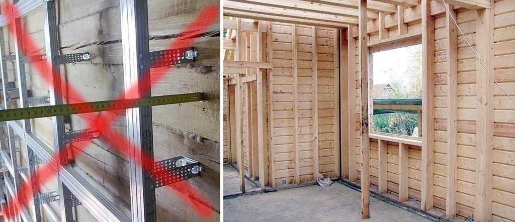 Неправильная и правильная обрешетка для обшивки гипсокартоном деревянных стен