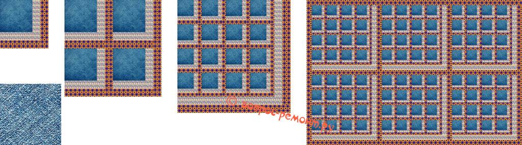 Схема пошива покрывала из джинсовой и дополняющей ткани