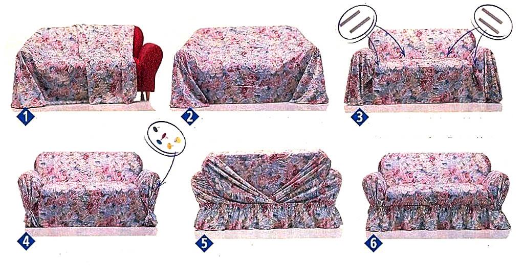 Пошив покрывала на диван из одного куска ткани
