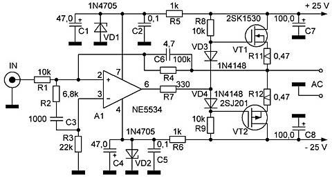 УМЗЧ на мощных полевых транзисторах
