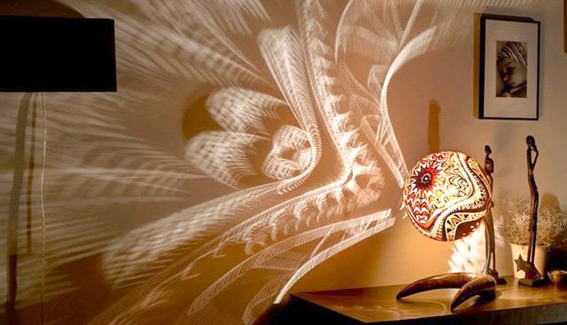 Оригинальная настольная лампа со сферическим абажуром