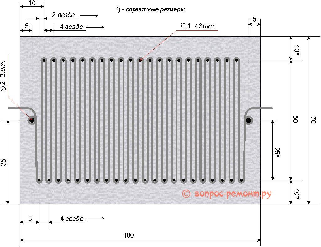 Чертеж шаблона для формирования плоского нихромового нагревательного элемента