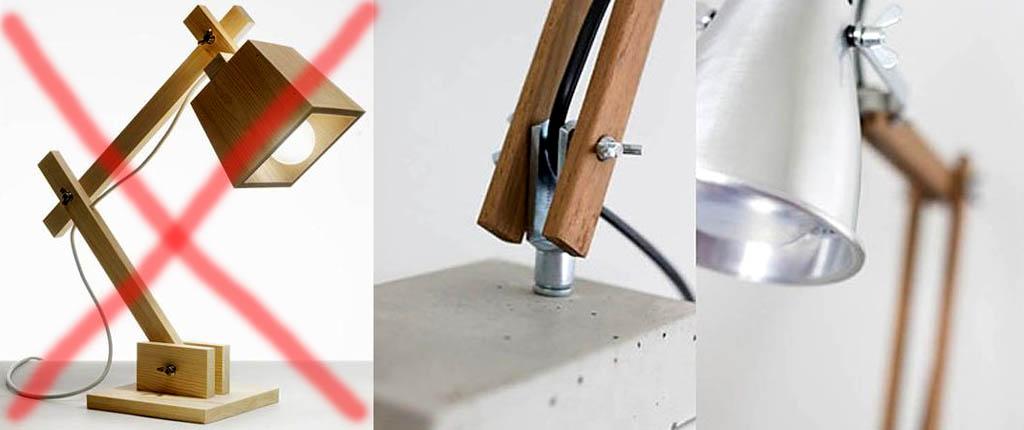 Неправильная и правильная прокладка электрокабеля в настольной лампе на шарнирном кронштейне.