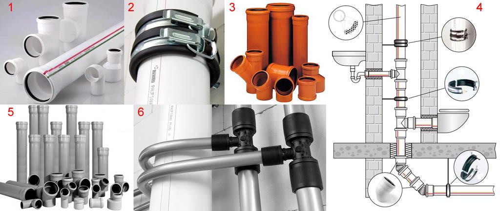 Трубы для внутренней канализации и схема устройства антишумового стояка