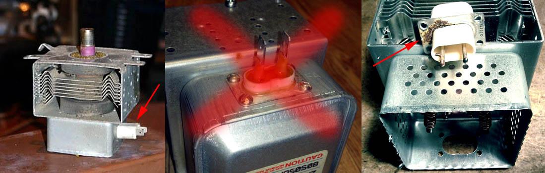 Характерные неисправности магнетрона микроволновой печи
