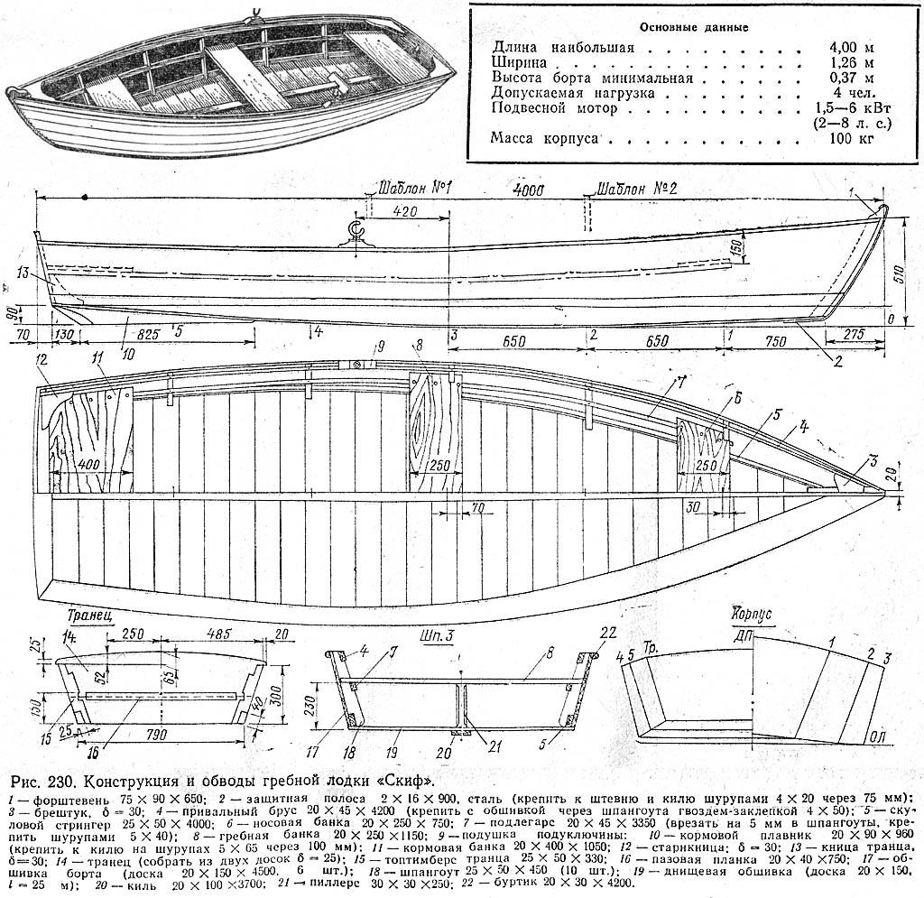 Проект лодки скиф. К. с.257-259