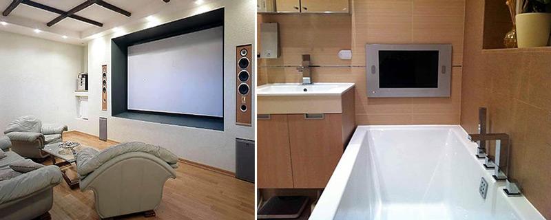 Встроенная акустика в гостиной и в ванной