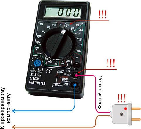 Схема проверки высоковольтных электронных компонент микроволновой печи