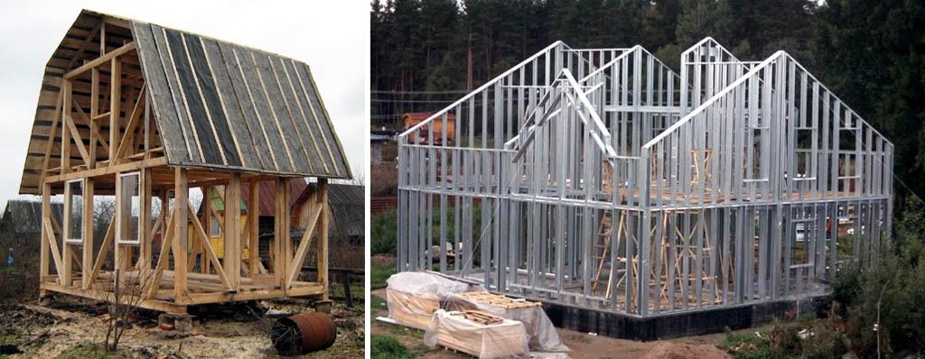 Каркасы жилых домов из дерева и тонкостенных стальных профилей