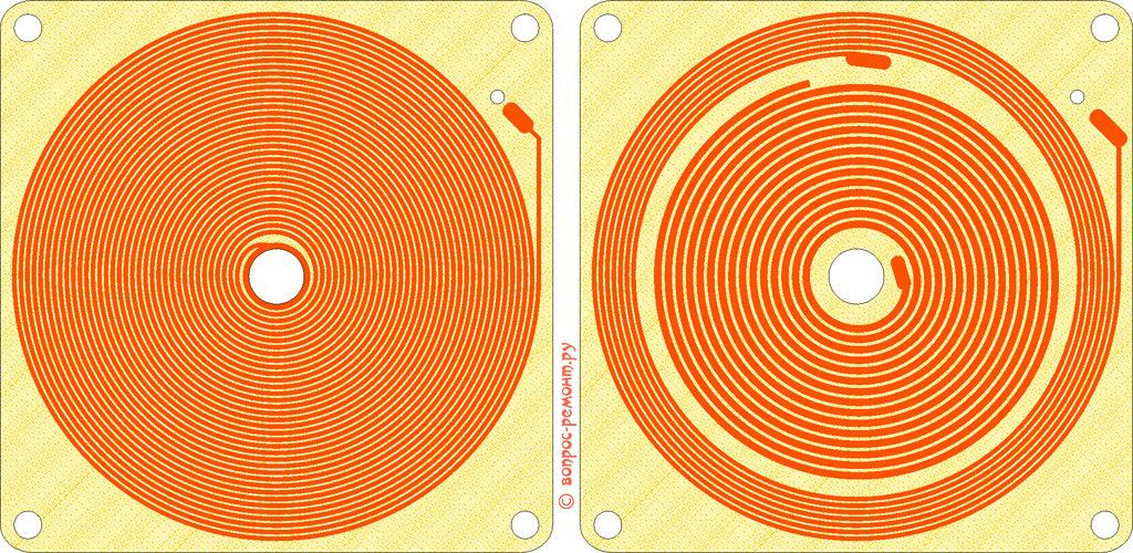 Шаблоны печатных катушек генератора беспроводного зарядного устройства