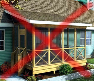 Неправильное сопряжение настилов кровли дома и пристройки
