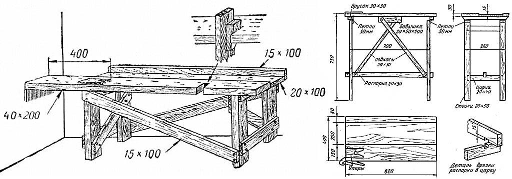 Верстаки для дачи из подручных материалов и складной