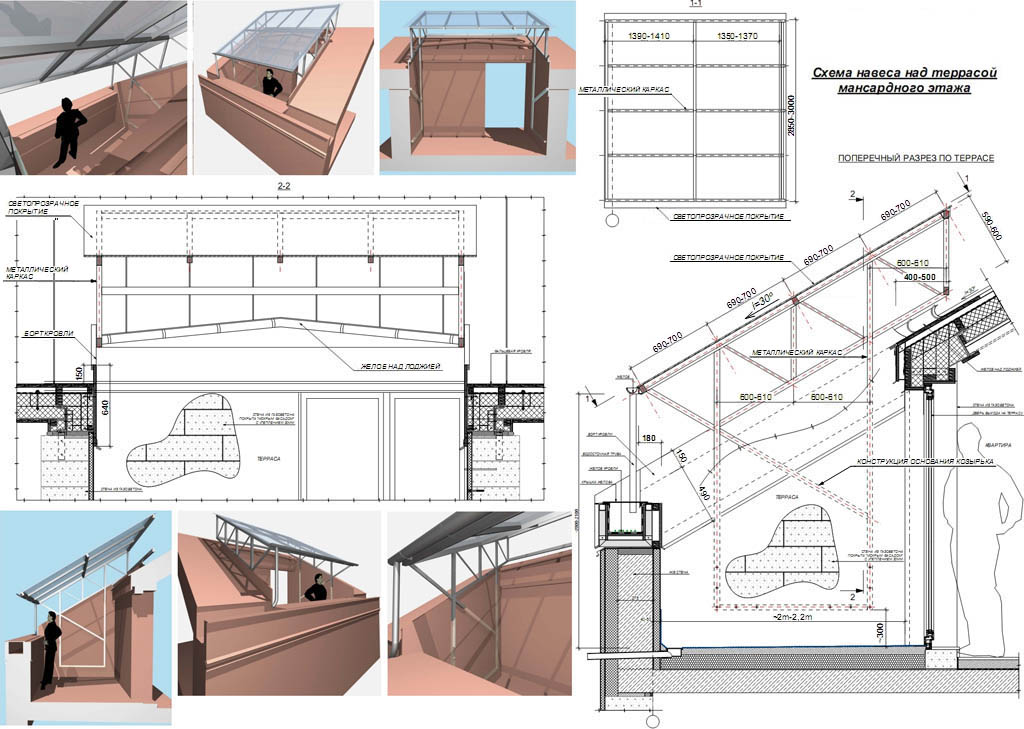 Схема и размеры навеса из поликарбоната для террасы
