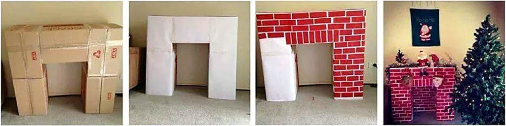 Как наскоро сделать праздничный камин из коробок