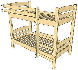 Конструкция двухъярусной детской кровати из мягкого дерева