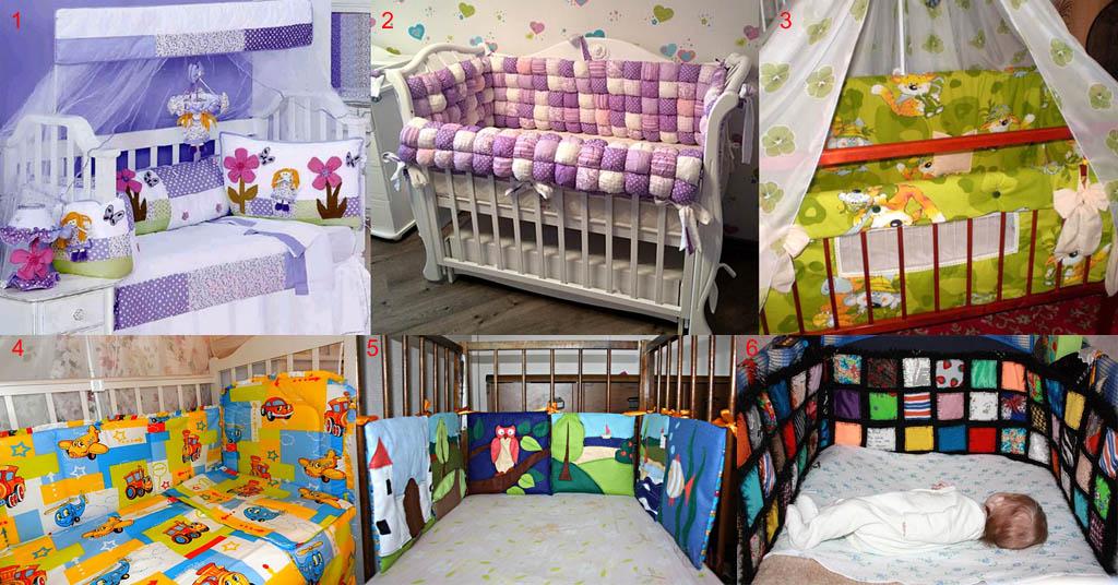 Неправильное цветовое оформление мягких бортиков для детской кроватки