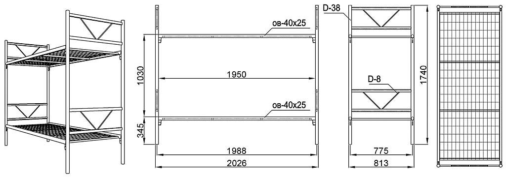 Общий вид и размеры двухъярусной кровати на каркасе из стальных труб