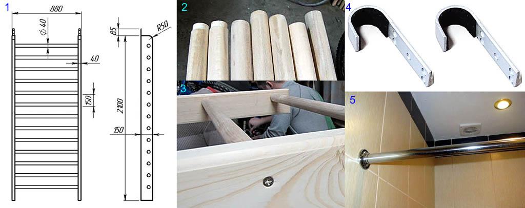 Чертежи и устройство простой деревянной шведской стенки
