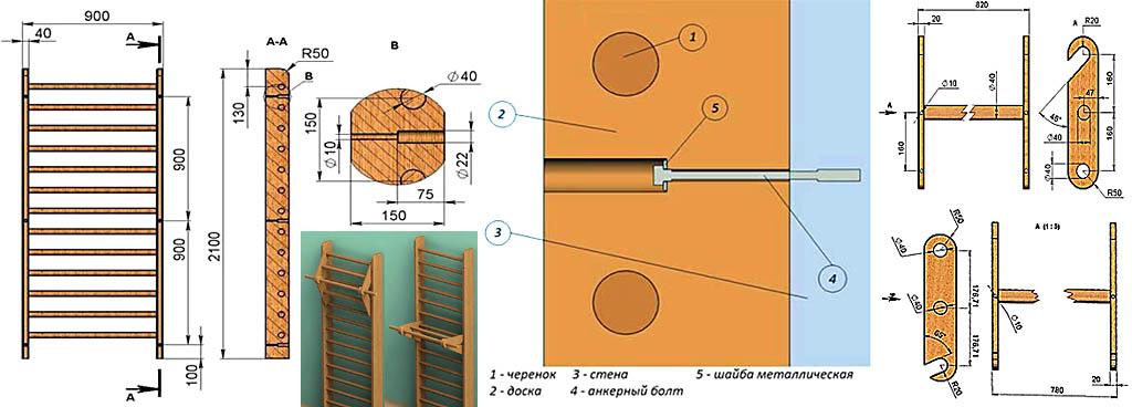 Чертежи шведской стенки с навесным деревянным держателем турника