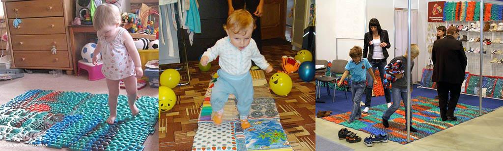 Дети и взрослые на массажных ковриках