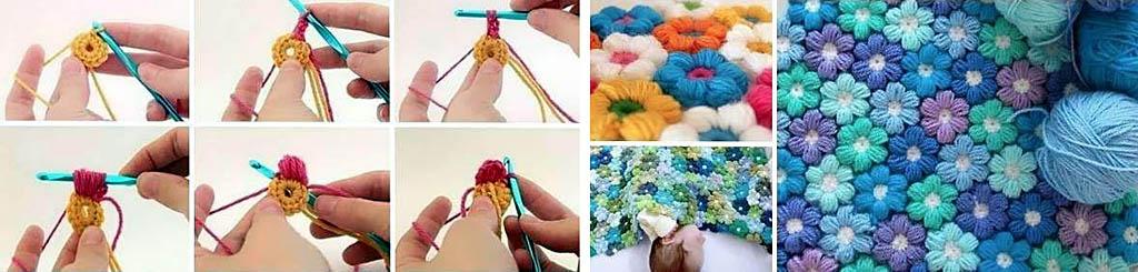 Как связать крючком детский плед из цветов