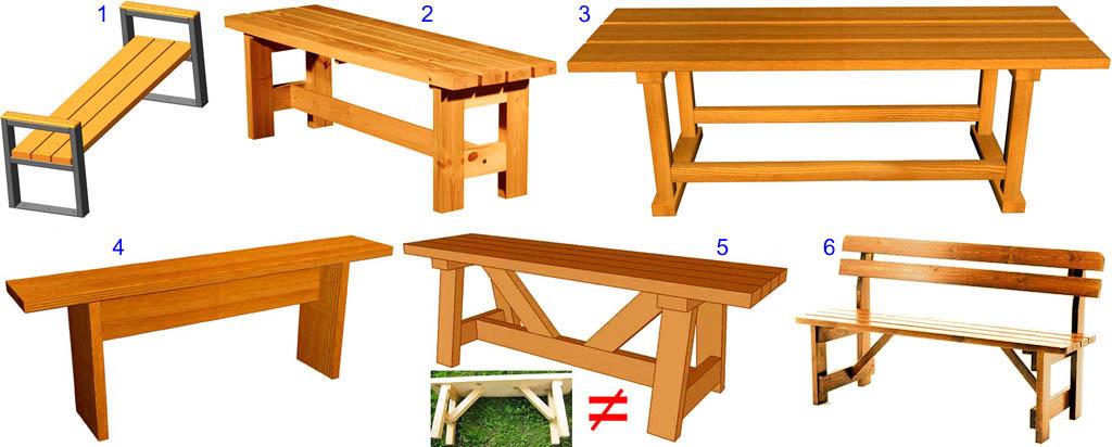 Примеры силовых схем лавочек и скамеек