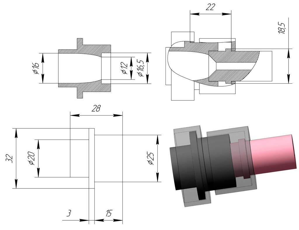 Схема и размеры переходника для установки китайских сопел на фирменный пескоструйный пистолет