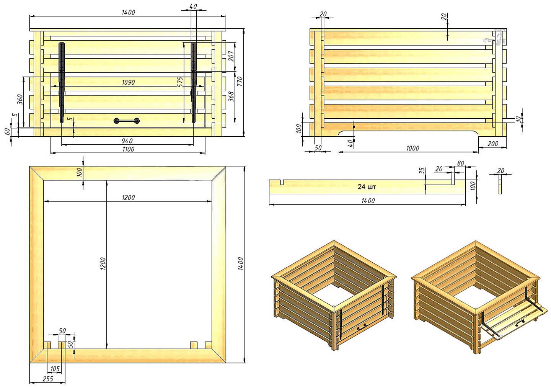 Чертежи компостного ящика из дерева для двух способов компостирования