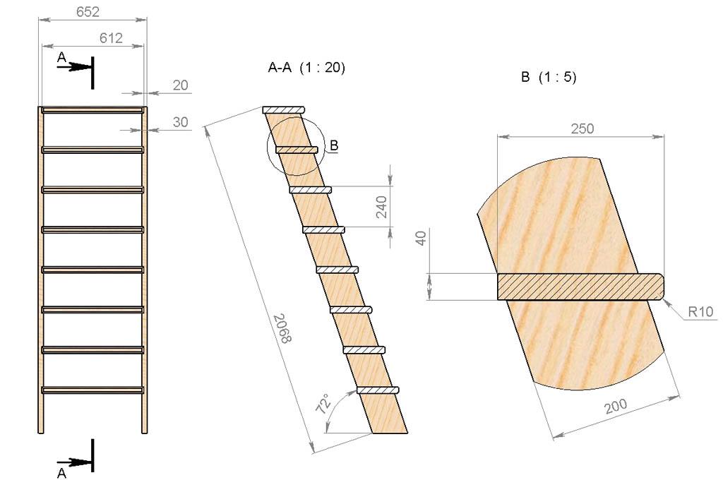 Чертежи крутонаклонной лестницы в подвал