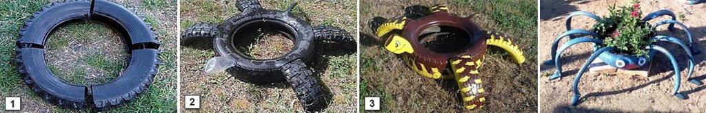 Как сделать из шин клумбу-черепаху и осьминога