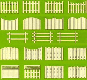 Образцы конфигурации секций штакетного забора
